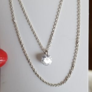 Double chains & FLOATING CRYSTAL necklace